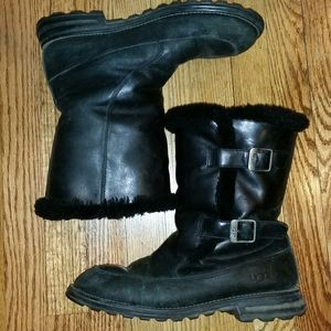 UGG Black Leather Shearling Boots 12